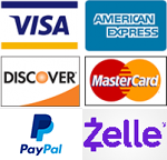 We accept Visa, American Express, Discover, Master Card, PayPal and Zelle